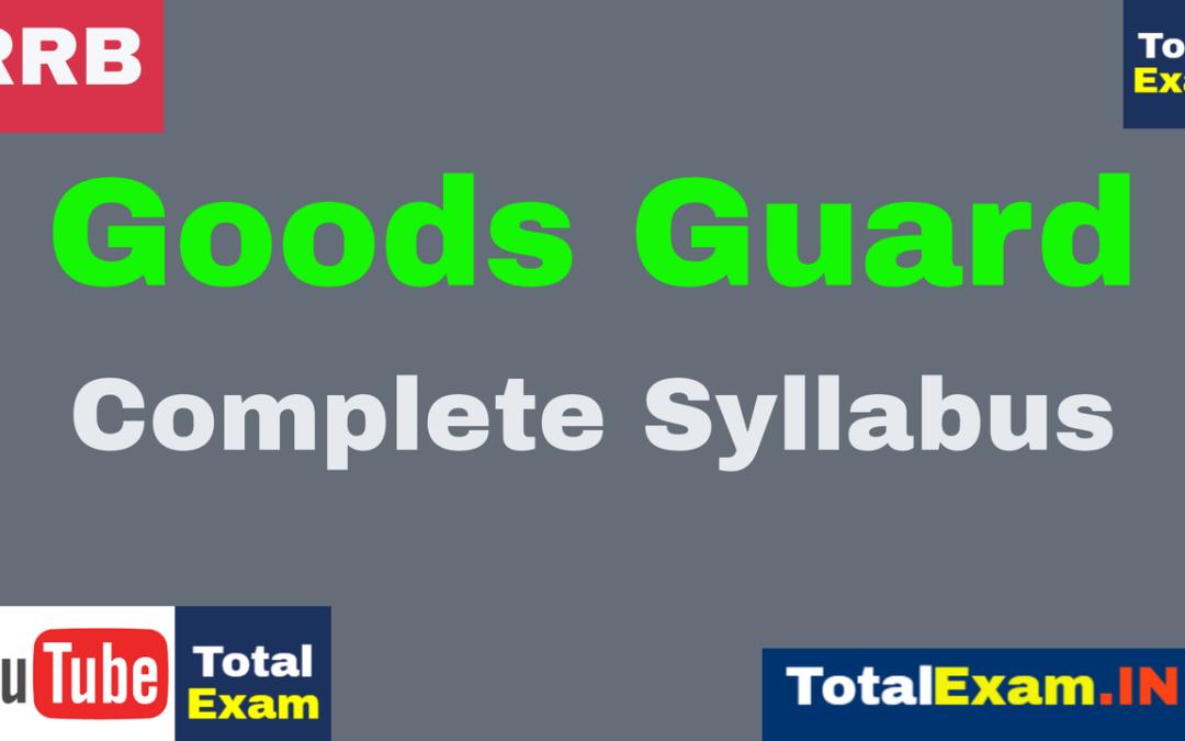 SYLLABUS RRB GOODS GUARD